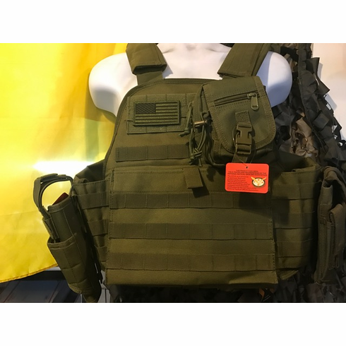 """Rothco Tactical OD Premium Operator Plate Carrier With Molle, Holster and (2) 10 x 12"""" Certified AR500 NIJ Compliant Plates & Side Plates"""