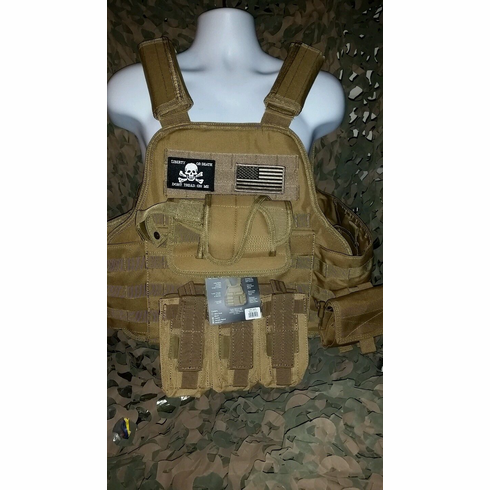 "Rothco Tactical ""Pirate"" Coyote Premium Operator Plate Carrier With Molle and (2) 10 x 12"" Certified AR500 NIJ Compliant Plates & Side Plates"