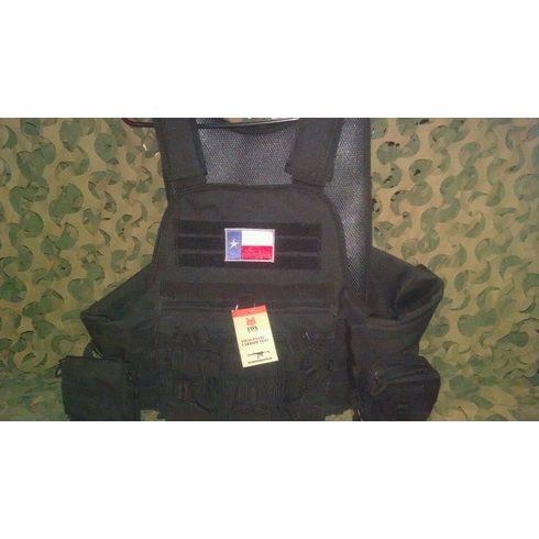 "Rothco Texas Tactical Black Operator Plate Carrier With Molle and (2) 10 x 12"" Certified AR500 NIJ Compliant Plates"
