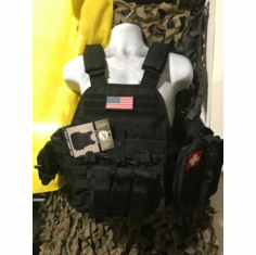 "Rothco USA Tactical Black Carrier, Molle & (2) 10"" x 12"" Tactical Cut Level III Plates"