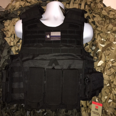 "TAC Black Expert Black Plate Carrier & (2) 10x12"" Curved Plates & Molle Shown"