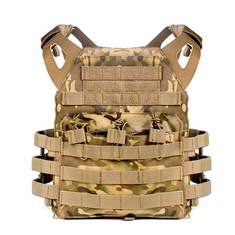"TAC Multicam Lightweight Plate Carrier, Molle and (2) 10 x 12"" Certified AR500 NIJ Tactical Cut Plates"