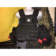 "Voodoo ""Big Man"" Plate Carrier 2XL-5XL & (2) 10x12"" AR500 Plates & Side Plates!"