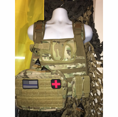 "Voodoo Multicam ICE Plate Carrier, Combat Medic With Molle and (2) 10 x 12"" Certified AR500 NIJ Compliant Plates"