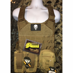 "Voodoo Punisher Coyote RAT Plate Carrier With Molle and (2) 10 x 12"" Certified AR500 NIJ Compliant Plates"