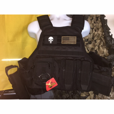 "Voodoo Punisher & Flag ""Big Man"" Plate Carrier 2XL-5XL & (2) 10x12"" AR500 Plates"