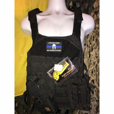 "Voodoo ""RAT"" Black Carrier & (2) 10""x12"" AR500 Comfort Curved Plates, Molle and Cross Draw Holster"
