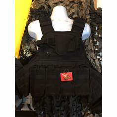 "Voodoo Tactical Black ""Big Man"" Plate Carrier 2XL-5XL & (2) 10x12"" AR500 Plates & 6x6"" Side Plates"