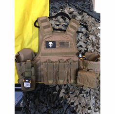 "Voodoo Tactical Coyote ""Big Man"" Plate Carrier 2XL-5XL & (2) 10x12"" AR500 Plates & 6x6"" Side Plates"
