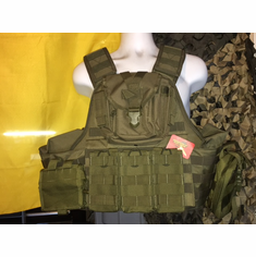 "Voodoo Tactical OD AR ""Big Man"" Plate Carrier & (2) 10x12"" AR500 Plates"