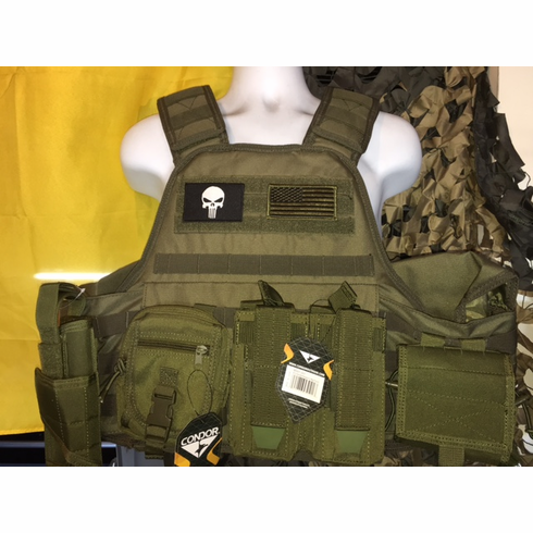 """Voodoo Tactical OD Punisher & Flag """"Big Man"""" Plate Carrier 2XL-5XL & (2) 10x12"""" AR500 Plates & 6x6"""" Side Plates"""