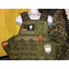 "Voodoo Tactical OD Punisher & Hearbreak Ridge Patch ""Big Man"" Plate Carrier 2XL-5XL & (2) 10x12"" AR500 Plates & 6x6"" Side Plates"