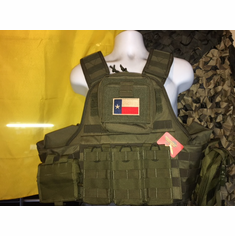 "Voodoo Tactical OD Texas Flag ""Big Man"" Plate Carrier & (2) 10x12"" AR500 Plates"