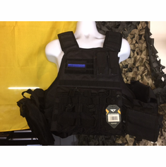 "Voodoo Thin Blue Line ""Big Man"" Plate Carrier & (2) 10x12"" AR500 Plates"