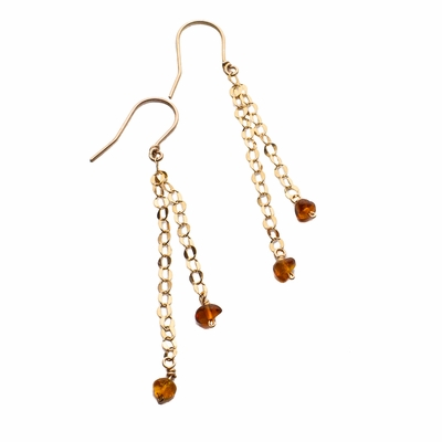 Amber and Rose Gold-Filled Earrings
