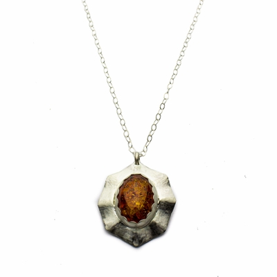Amber and Sterling Silver Octagon Necklace