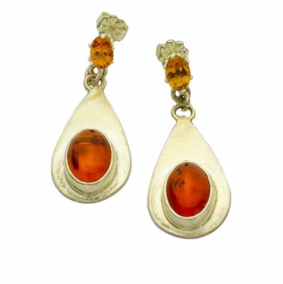 Amber Citrine and Sterling Silver Earrings
