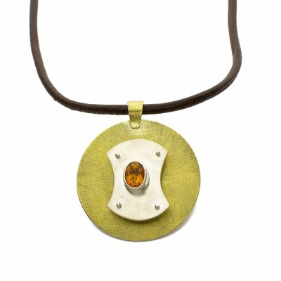 Citrine Sterling and Brass Pendant Necklace