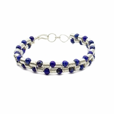 Coiled Sterling Silver & Lapis Lazuli Bracelet
