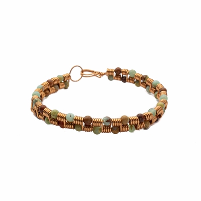 Copper Coil Bracelet and Impression Jasper Beads