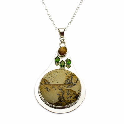 Dendritic Jasper with Sunstone and Chrome Diopside