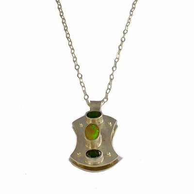 Ethiopian Opal and Chrome Diopside Layered Pendant Necklace