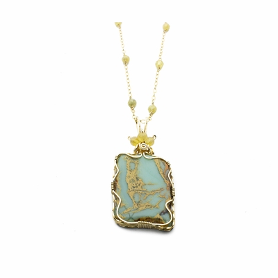 Impression Jasper Gold-Rutilated Quartz Pendant Necklace