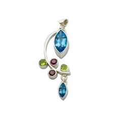 Marquise Topaz with Peridot Sapphire Sterling Pendant