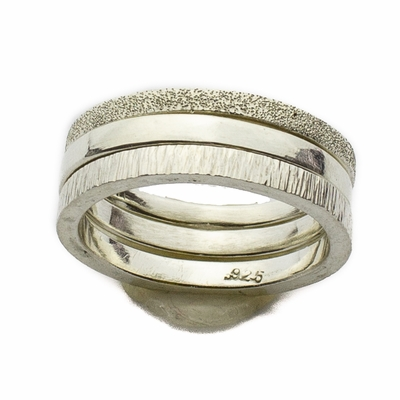 Not-So-Plain Bands - Sterling Silver 3 Rings Set