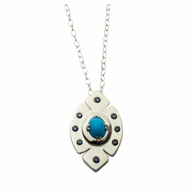 Sleeping Beauty Turquoise and Sapphire Pendant