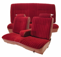 1981-1988 Regal/Malibu/Monte Carlo/Cutlass/Grand Prix Front Straight Bench With 50/50 Split Back, Center Arm Rest, Head Rests & Rear Bench Seat Upholstery Kit U207S