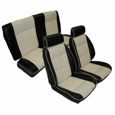 1982-1988 Regal/Malibu/Monte Carlo/Cutlass/Grand Prix Front European G Bucket Seats and Rear Bench Seat Upholstery Kit covered completely with vinyl with Madrid 2305 Pure White Inserts U2007S