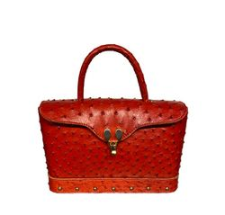 Small Satchel Red Ostrich