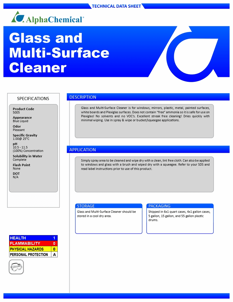 Glass and Multi-Surface Cleaner - (CASE, 6 - 1QT Spray Bottles)