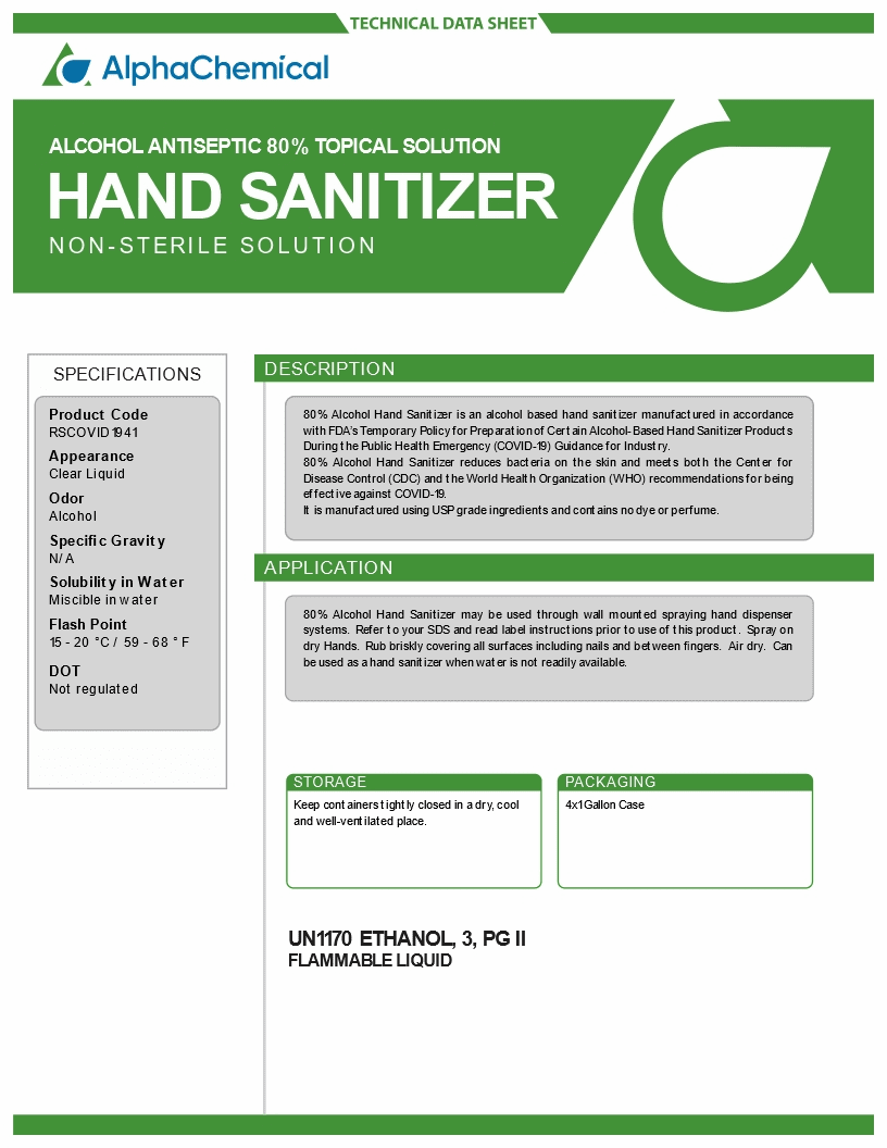 HAND SANITIZER - ALCOHOL ANTISEPTIC 80% TOPICAL SOLUTION (CASE 4 -1 Gallon)