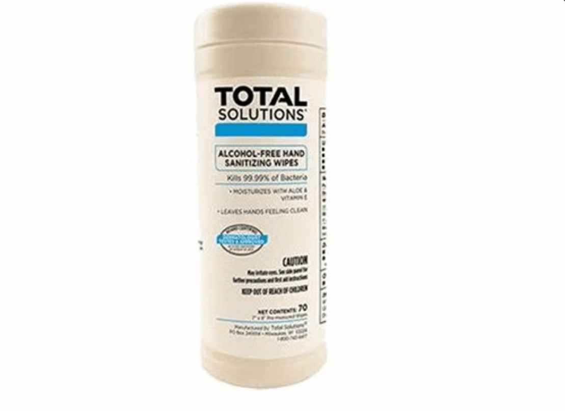 """Total Solutions Alcohol-Free Hand Sanitizing Wipes - 1 Canister (7"""" x 8"""", 70 count)** CURRENTLY NOT AVAILABLE"""