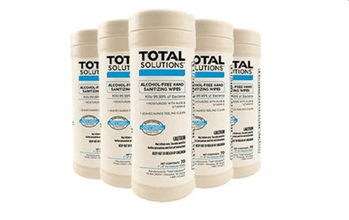 """Total Solutions Alcohol-Free Hand Sanitizing Wipes - 1 Case (6 Canisters, 7"""" x 8"""", 70 count)** CURRENTLY NOT AVAILABLE"""