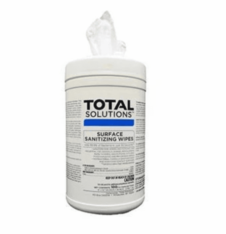 """Total Solutions Surface Sanitizing Wipes - 1 Canister (6"""" x 10"""", 100 count)** CURRENTLY NOT AVAILABLE"""