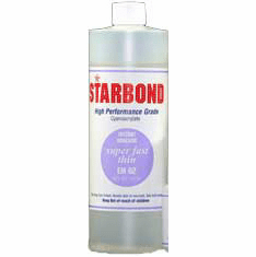 Starbond EM 02 Thin Clear Cyanoacrylate Adhesive 16oz x 2ea, Includes 4 FREE empty 2oz application bottles with Tips