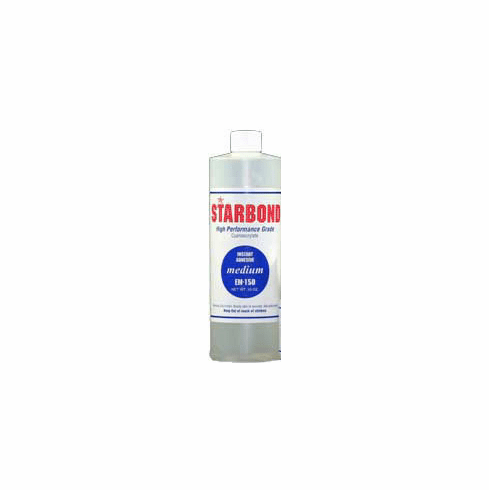 Starbond EM 150 Medium Clear Cyanoacrylate Adhesive 16oz x 6ea, Includes 12 FREE empty 2oz application bottles with Tips