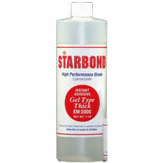 Starbond EM 2000 Thick Clear Cyanoacrylate Adhesive 16oz x 2ea, Includes 4 FREE empty 2oz application bottles with Tips