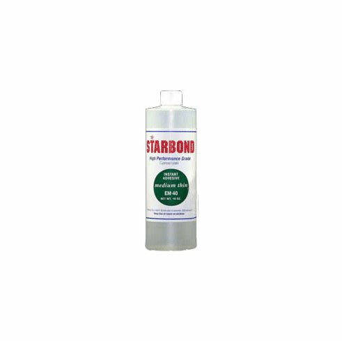 Starbond EM 40 Medium Thin Clear Cyanoacrylate Adhesive 16oz x 2ea, Includes 4 FREE empty 2oz application bottles with Tips