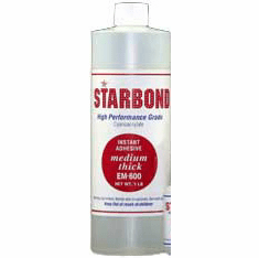 Starbond EM 600 Medium Thick Clear Cyanoacrylate Adhesive 16oz x 2ea, Includes 4 FREE empty 2oz application bottles with Tips