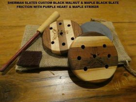 SHERMAN SLATES BLACK WALNUT & MAPLE LAMINATED GREEN SLATE TURKEY FRICTION CALL