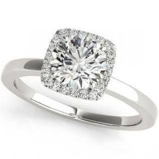 1.12CT. Diamond Square Solitaire Halo Engagement Ring
