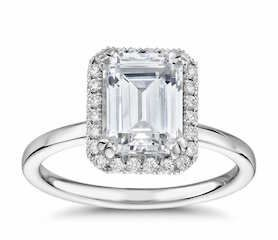 1.5ct Emerald-Cut Si2 G set in Halo Diamond Engagement Ring