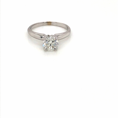 14kt Classic Solitaire Style Ring With 1.25 Carat G-SI1 Round Diamond