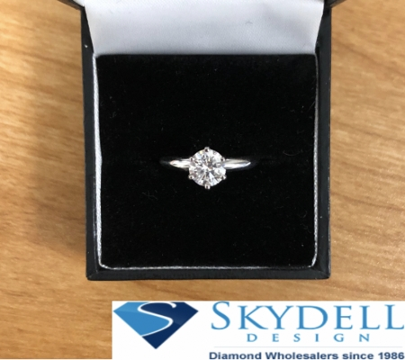 14kt Classic Style Solitaire Ring With 2.10 Carat G-SI3 Round Diamond