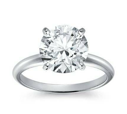 14kt Classic Style Solitaire Ring With 2.10 Carat G-SI2 Round Diamond