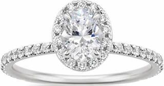 18k White Gold Oval Cut Diamond Engagement Ring